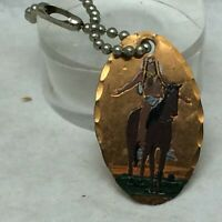 Vintage Souvenir Cheyenne Wyoming Metal Key Chain Horse End of The Trail