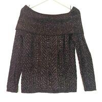 White house black market cowl neck sweater bow back purple black size medium