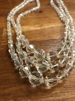Multi Strand Faceted AB aurora Glass Crystal vintage Necklace Decorative Clasp