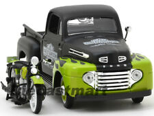 MAISTO 1:24 32171 1948 FORD F-1 PICKUP + BIKE HARLEY DAVIDSON BLACK GREEN FLAME