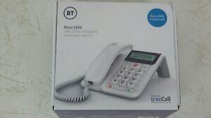 BT Decor 2600 White Landline Phone With TrueCall Nuisance Call Blocker S109