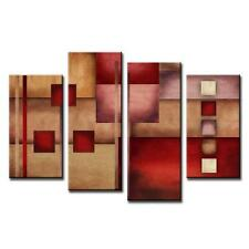 Abstract Canvas Print Beige Red Home Decor Modern Fine Wall Art Painting 4 Pcs