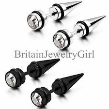 2PCS Black Silver Men's Spike Punk Stainless Steel Rhinestone Ear Studs Earrings