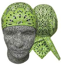 Lime Green Rhinestones Paisley Rainbow Durag Biker Head Wrap Sweatband Capsmith
