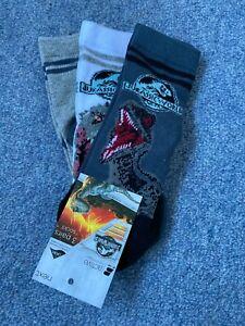 Next Jurassic World 3 Pack of Boys Socks Size 6-8.5 NEW Dinosaurs