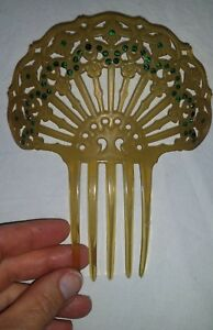 Gorgeous Large Vtg Art Deco HAIR COMB Green Rhinestone Mantilla  CELLULOID