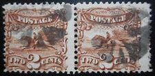 "U.S.Stamp:Scott#113, 2c, Brown, A Pair, The ""Pictorial Series"", Issues of 1869"