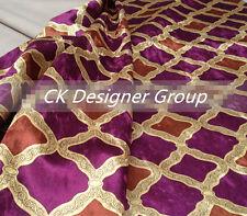 ELEGANT DESIGNER UPHOLSTERY FABRIC-velvet flannelette Diamond lattice Red Violet
