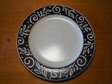 "Mikasa Intaglio EBONY TRAIL CAA59 Set of 5 Dinner Plates 11 1/8"" Black Grey"