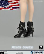 """1/6 Women Black Ankle Boots For 12"""" PHICEN Verycool Hot Toys Female Figure ❶USA❶"""