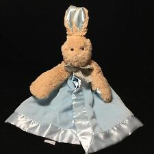 Bearington Baby Bunny Rabbit Tan Blue Security Blanket Lovey Velour Satin