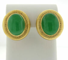 Large Buccellati 18k Gold 60ctw Jade Cabochon Earrings