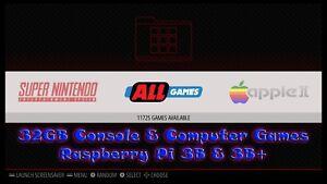 32GB Micro SD for Raspberry Pi 3B/3B+ Retropie MSDos/Apple 2 11,670 Retro GAMES