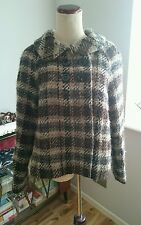 Massimo dutti checked wool short jacket jackie o size 10