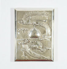 ANTIQUE CHINESE EXPORT SILVER CARD CASE BY HUNG CHONG CANTON SHANGHAI