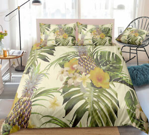 Yellow Pineapple Floral Tropical Double Single Quilt Duvet Pillow Cover Bed Set