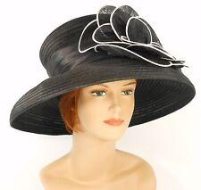 New Church Kentucky Derby Wedding Organza Ascot Dress Hat S10-740 Black