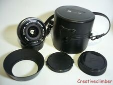 Olympus Auto-W 28mm f3.5 Prime Wide Angle Lens - OM Fit + Caps, Hood & Case