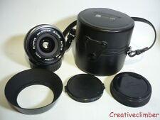 Olympus Auto-W 28mm f3.5 primer lente gran angular-OM Fit + Gorras, Capucha Y Estuche