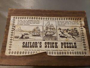 RARE VINTAGE SAILOR 'S STICK PUZZLE SIMULATED IVORY BONE 4 SCENES AMAZING