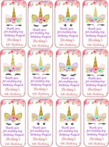 Unicorn 12 party tags with silk ribbon personalized