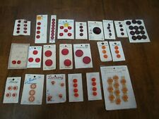 Lot of Vintage Sewing Buttons on Cards 22 ~ Mixed Lot ~ Crafts Red to Orange