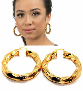 Womens Hoop Earrings 9ct Gold Filled Twist Large Creole Oversize Round