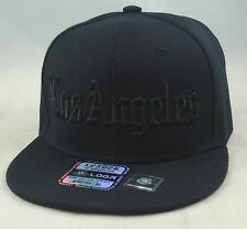 NEW LOS ANGELES LA 3D EMBROIDERY FLAT BILL SNAPBACK CAP HIP HOP HAT BLACK/BLACK