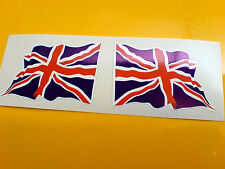 Union Jack UK GB Wavey drapeau casque de moto voiture autocollants stickers 2 off 60mm