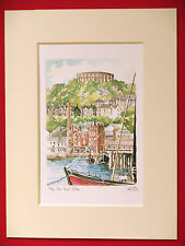 OBAN HARBOUR SCOTLAND CHARMING MOUNTED WATER COLOUR PRINT GRAY 8 X 6 OVERALL