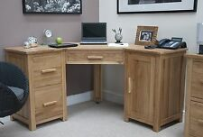 Eton solid oak modern furniture office PC corner computer desk