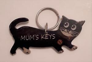 Mum's Keys Cat design Keyring, NEW  Cat Lover gift