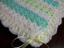 NEW Handmade Crochet Baby Blanket Afghan ( Yellow Green White ) Newborn