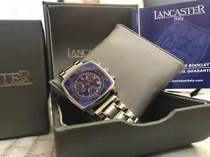 Lancaster Unisex Chronograph italienische Desigeruhr Edelstahl Quadrat blau