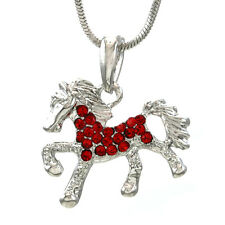 Red Pendant Necklace Horse Pony Mustang Western Cowboy Cowgirl Women Girl Charm