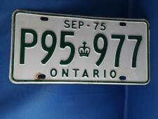 ONTARIO LICENSE PLATE 1975 SEPTEMBER P95 977 GREEN CROWN VINTAGE CAR SHOP SIGN