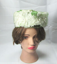 Vintage White & Green Netted Pillbox Hat W/ Union Made Label c. Mid Century