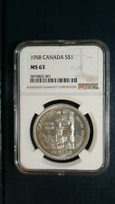 1958 CANADA TOTEM POLE NGC MS63 SILVER $1 Coin Auction Starts at 99 Cents!