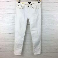 J. Crew Women's White Jeans Toothpick Stretch Jeans Skinny Straight Leg size 28