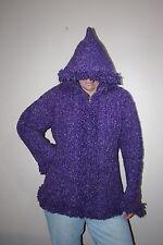 Purple~Women's Size L~COTTON/WOOL~Cable Knit~Purple~Zip~Hoodie/Sweater~Southwest