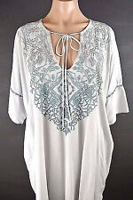 NWT Johnny Was Top SALE Gray,Blue Rayon Tunic Blouse Embroidered Maternity M