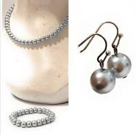 Silver Grey Faux Pearl Necklace Bracelet Earrings Wedding Bridal Jewellery Set