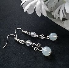 HANDMADE GENUINE OPALITE + CRYSTAL DROP EARRINGS