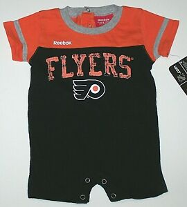 Philadelphia Flyers Logo Romper Shortall Creeper NHL Hockey   New Baby Newborn