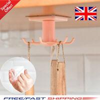 Kitchen Hook Mug Cup Holder Under Shelf Hanger Cupboard Storage Rack 6 Hooks UK!
