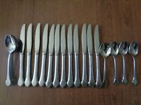 24 Pc Lot Oneida Stainless Steel Flatware Spoon Knife Summer Mist Autumn Glow