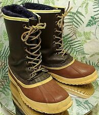 SOREL BROWN LEATHER RUBBER WINTER SNOW BOOTS LACED INSULATED SHOES US MENS SZ 7
