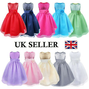 UK Kids Flower Girl Dress Sequins Party Formal Pageant Wedding Bridesmaid Tutus