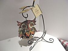 Pier 1 Imports Autumn Leaves Owl Hanging Tea Light Candle Holder - New w/tags