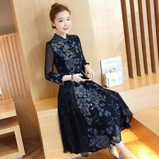Chinese Women 3/4 Sheer Sleeve Frog Button Floral Tunic Long Dress Party Retro
